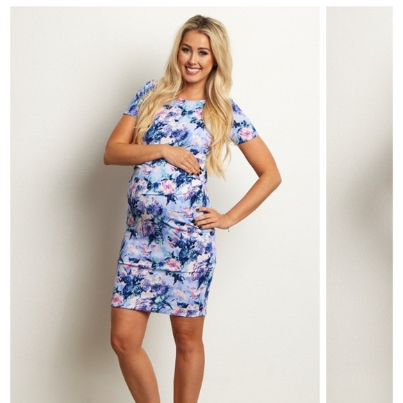 914ac4e4c3 PinkBlush Floral Baby Blue Fitted Maternity Dress.  M 5a5fce5ef9e5011d35d29740